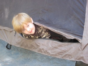 Cman peaking out of the tent